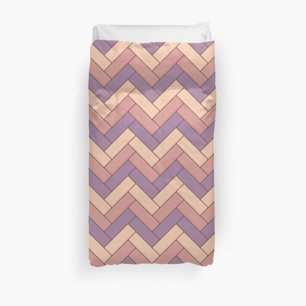 Geometric Pattern: Herringbone: Autumn Duvet Cover