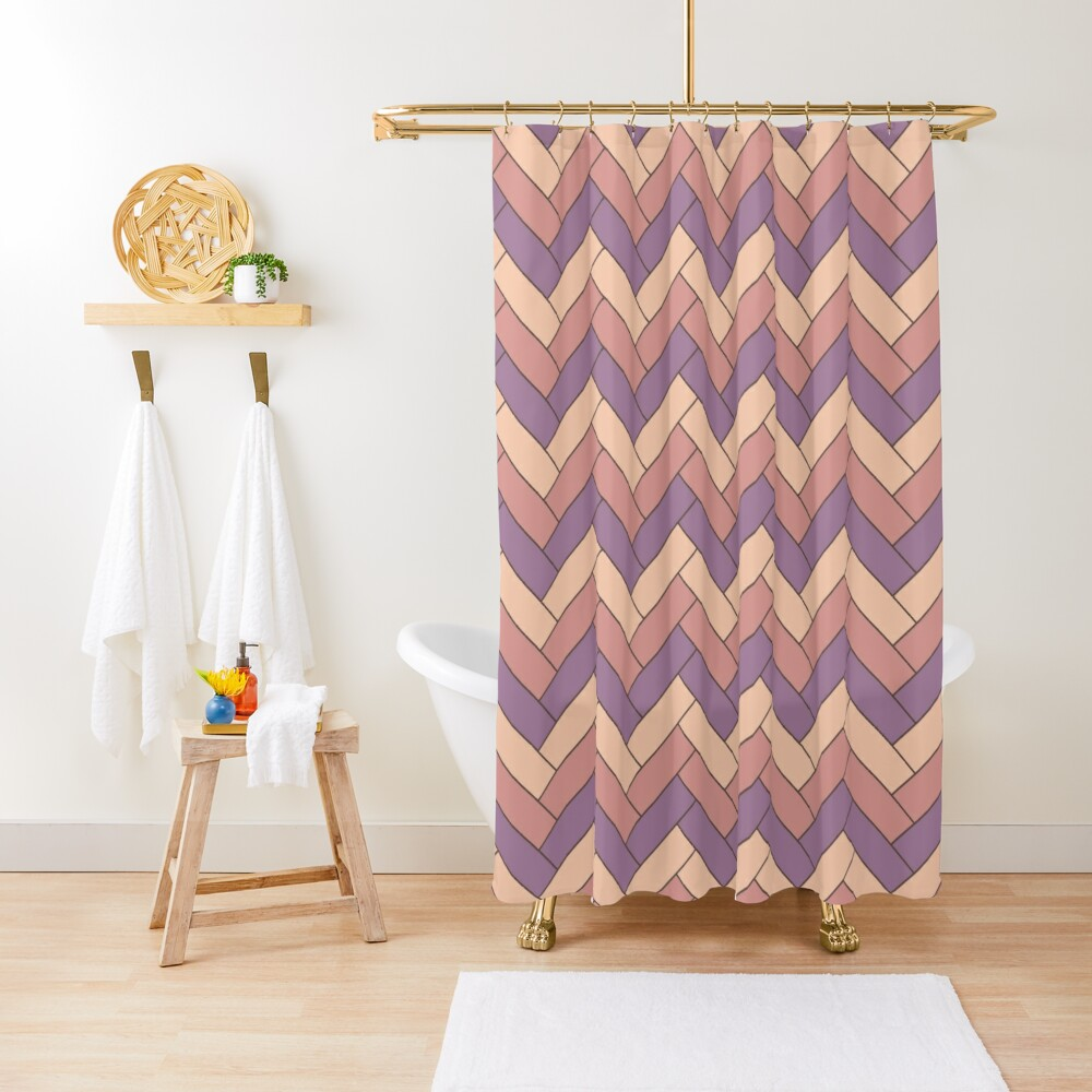 Geometric Pattern: Herringbone: Autumn Shower Curtain