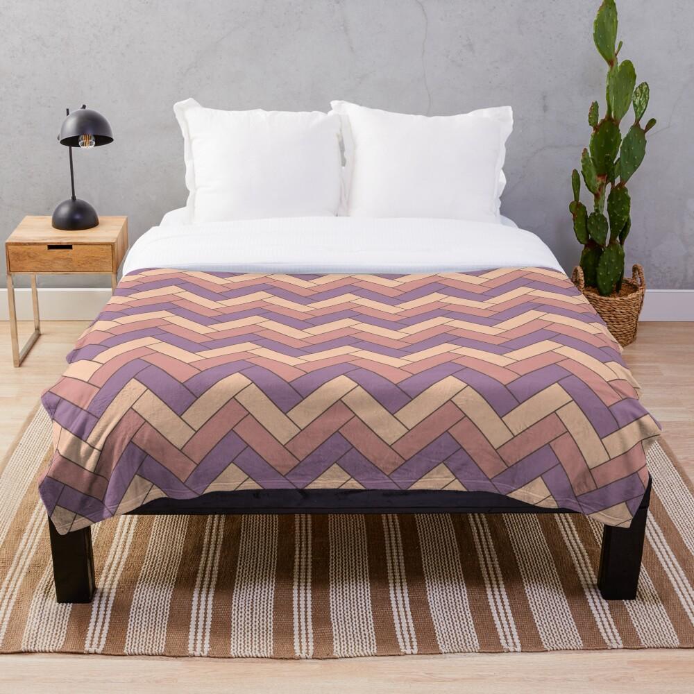 Geometric Pattern: Herringbone: Autumn Throw Blanket