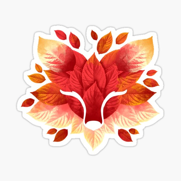 Fox of leaves Sticker