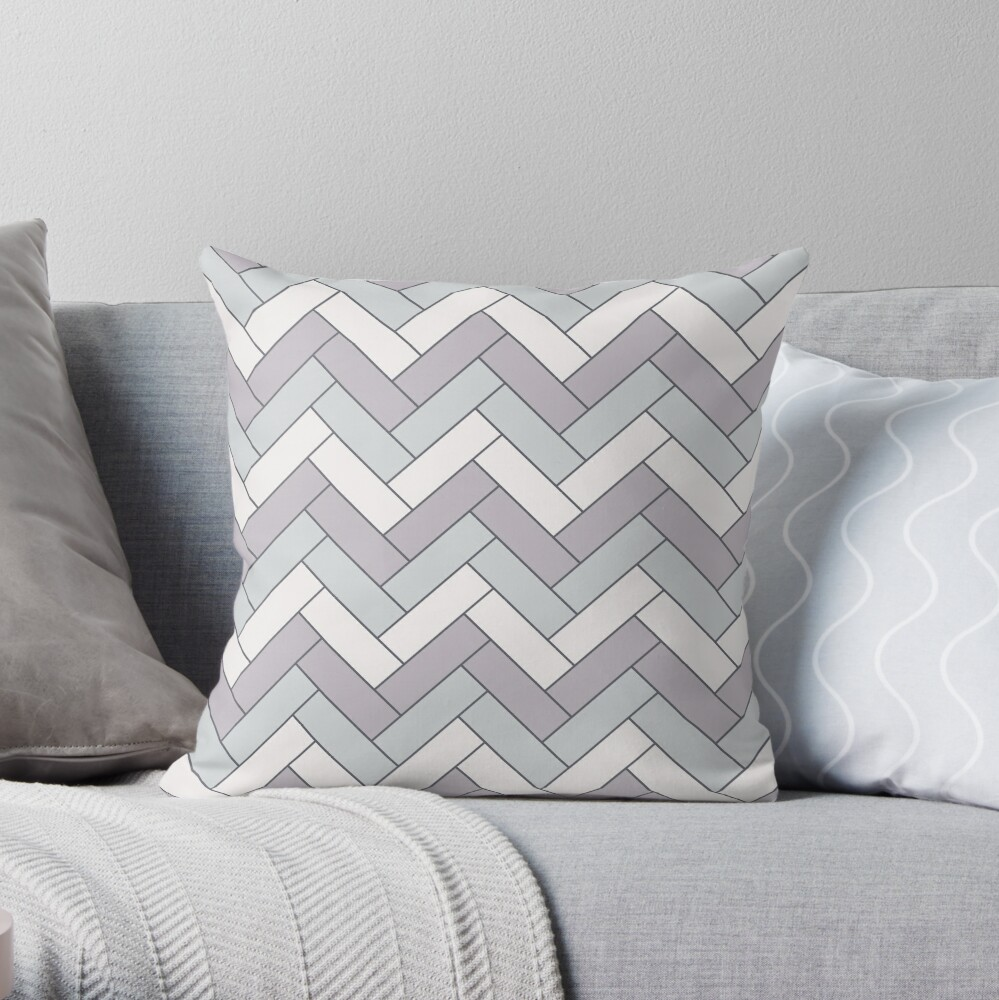 Geometric Pattern: Herringbone: Winter Throw Pillow