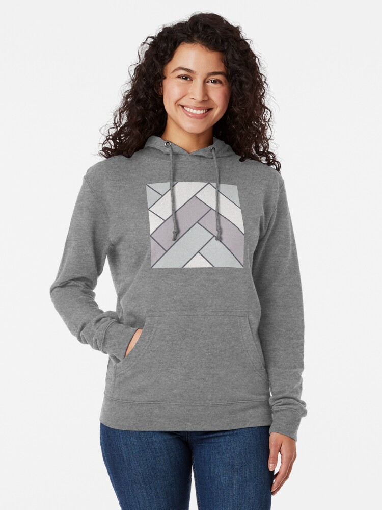 Alternate view of Geometric Pattern: Herringbone: Winter Lightweight Hoodie