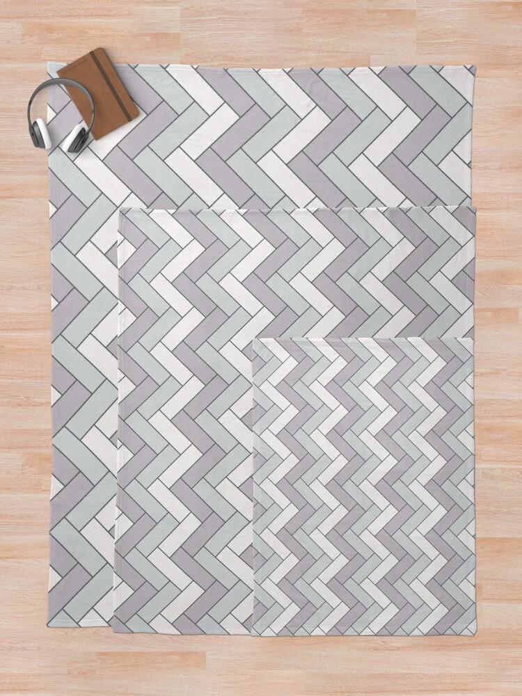 Alternate view of Geometric Pattern: Herringbone: Winter Throw Blanket