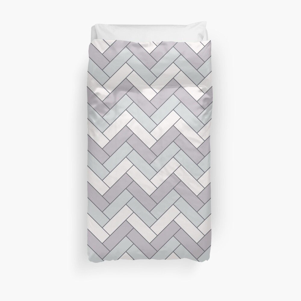 Geometric Pattern: Herringbone: Winter Duvet Cover