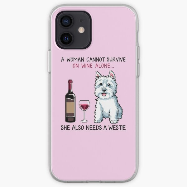 Westie and wine Funny dog iPhone Soft Case