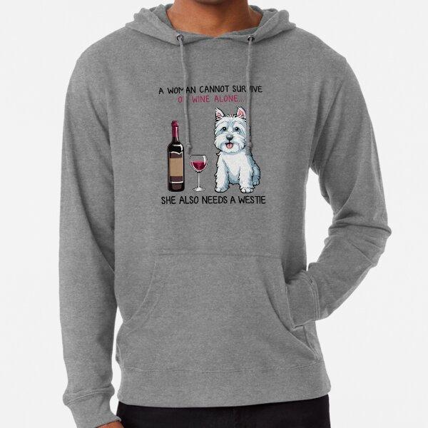 Westie and wine Funny dog Lightweight Hoodie