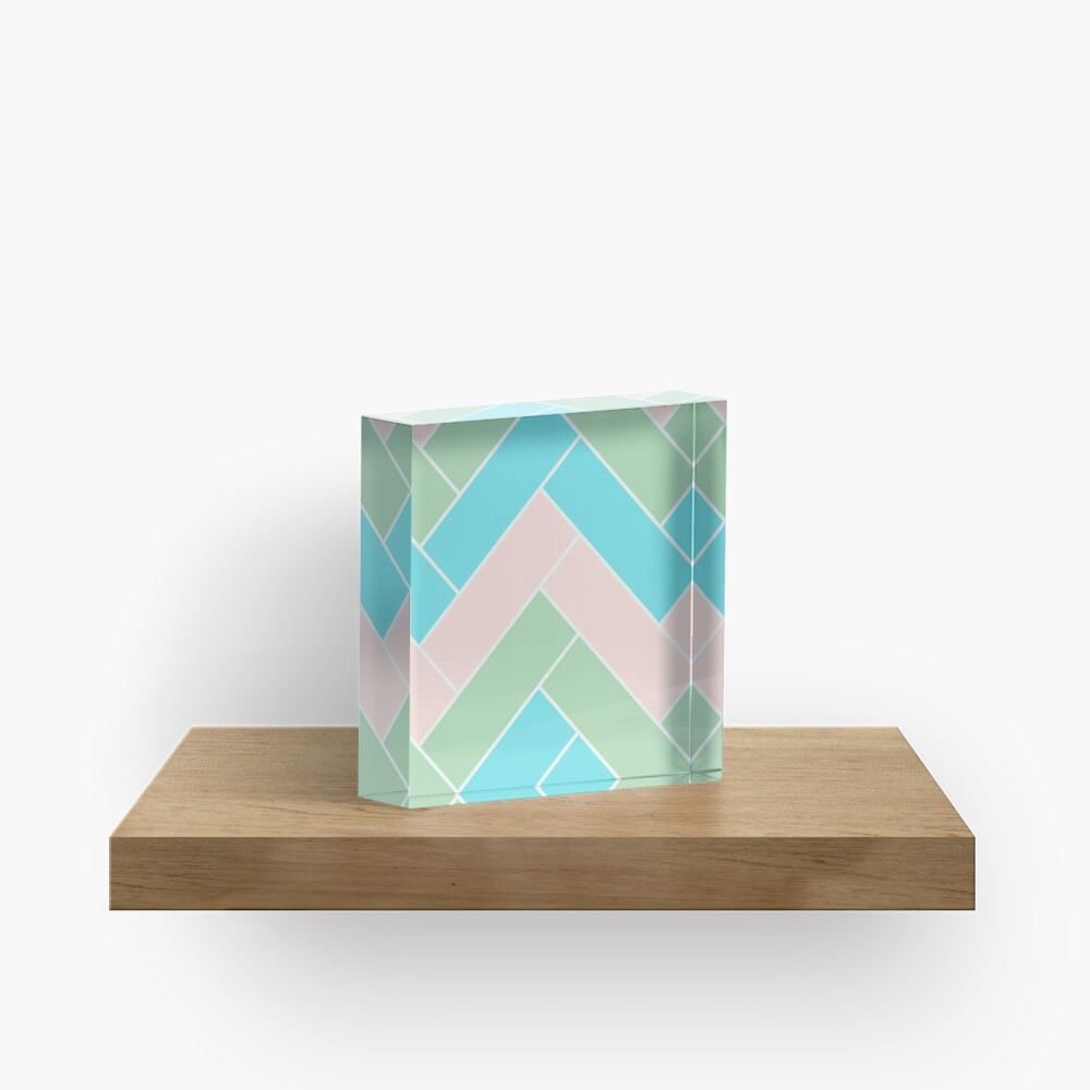 Geometric Pattern: Herringbone: Spring Acrylic Block