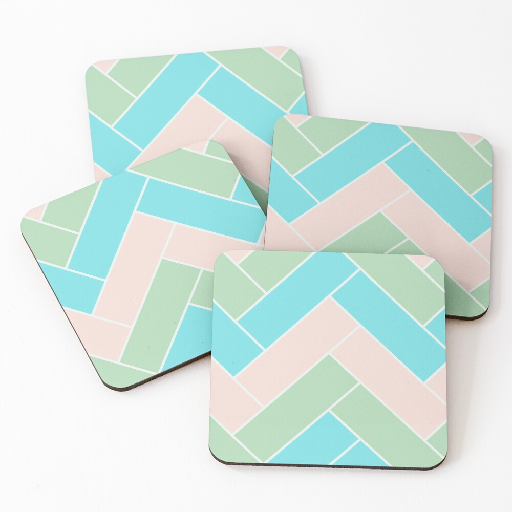 Geometric Pattern: Herringbone: Spring Coasters (Set of 4)