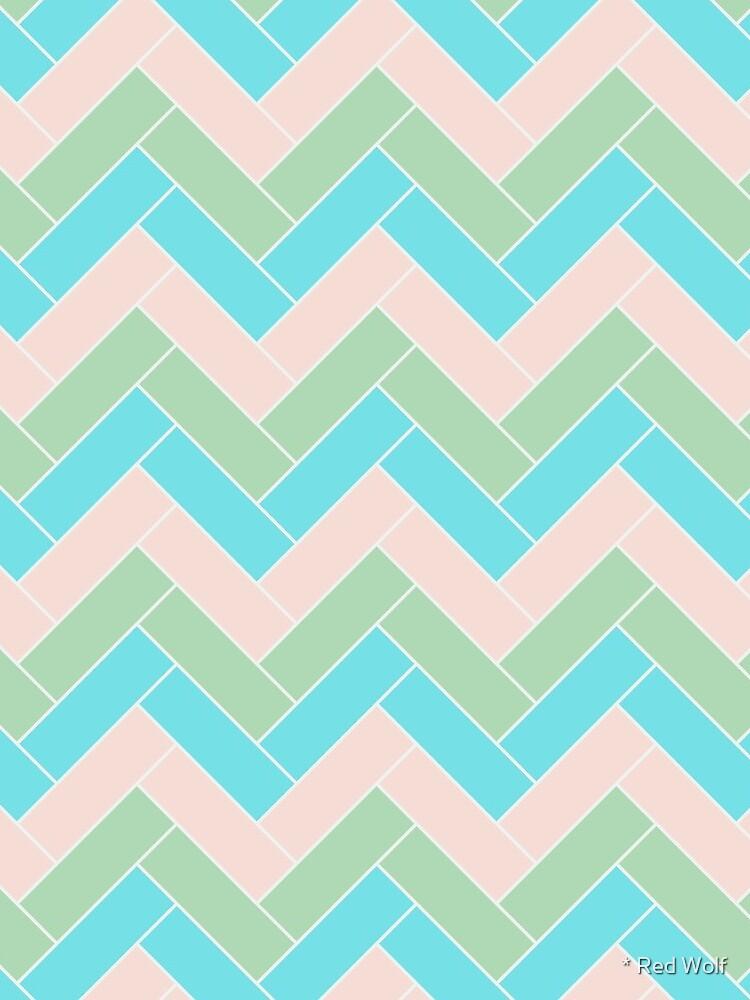 Geometric Pattern: Herringbone: Spring by redwolfoz