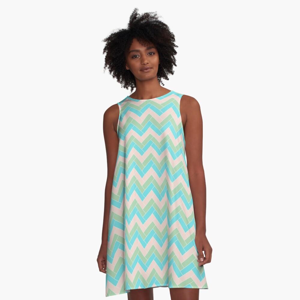 Geometric Pattern: Herringbone: Spring A-Line Dress