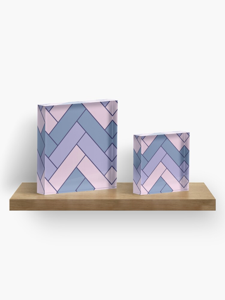 Alternate view of Geometric Pattern: Herringbone: Iris Acrylic Block