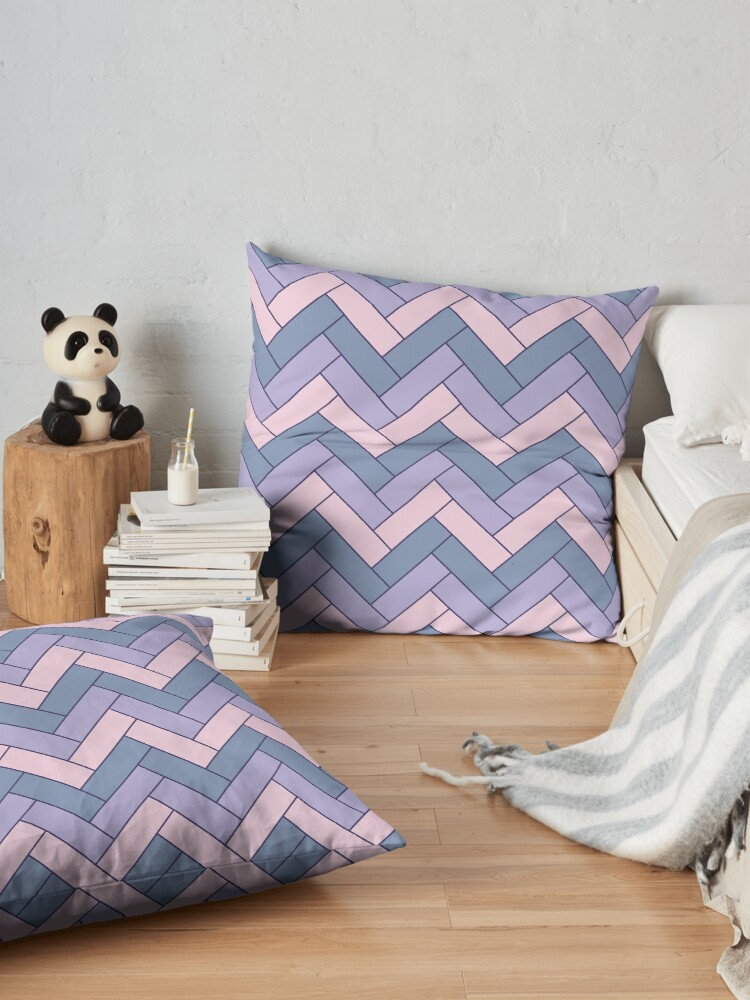 Alternate view of Geometric Pattern: Herringbone: Iris Floor Pillow