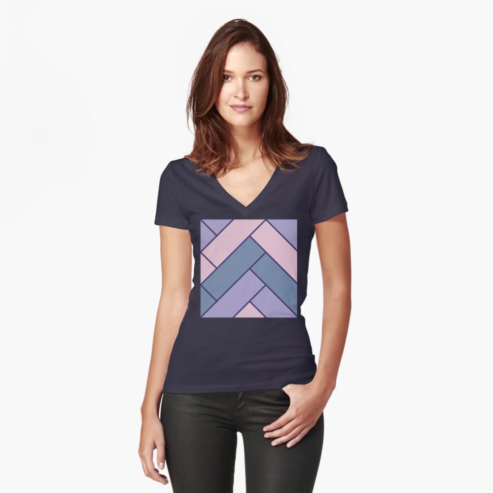 Geometric Pattern: Herringbone: Iris Fitted V-Neck T-Shirt