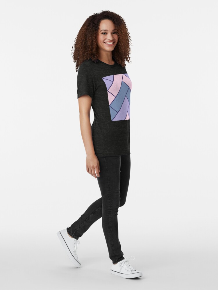 Alternate view of Geometric Pattern: Herringbone: Iris Tri-blend T-Shirt