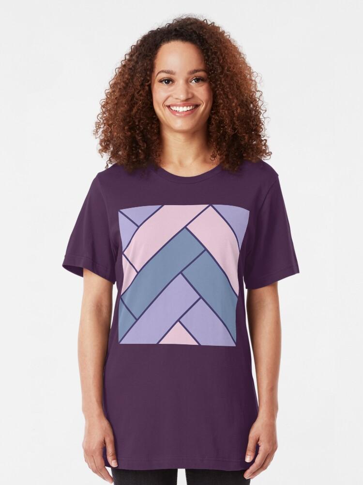 Alternate view of Geometric Pattern: Herringbone: Iris Slim Fit T-Shirt