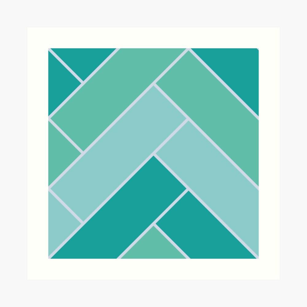 Geometric Pattern: Herringbone: Moss Art Print