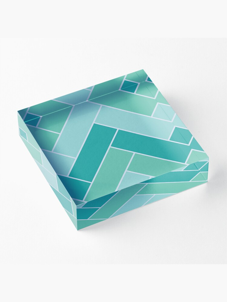 Alternate view of Geometric Pattern: Herringbone: Moss Acrylic Block