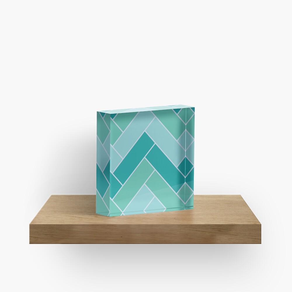 Geometric Pattern: Herringbone: Moss Acrylic Block