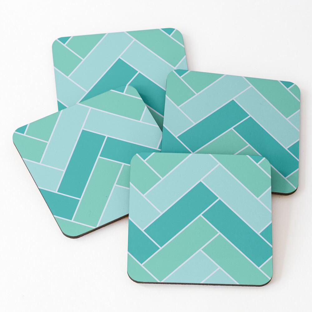 Geometric Pattern: Herringbone: Moss Coasters (Set of 4)
