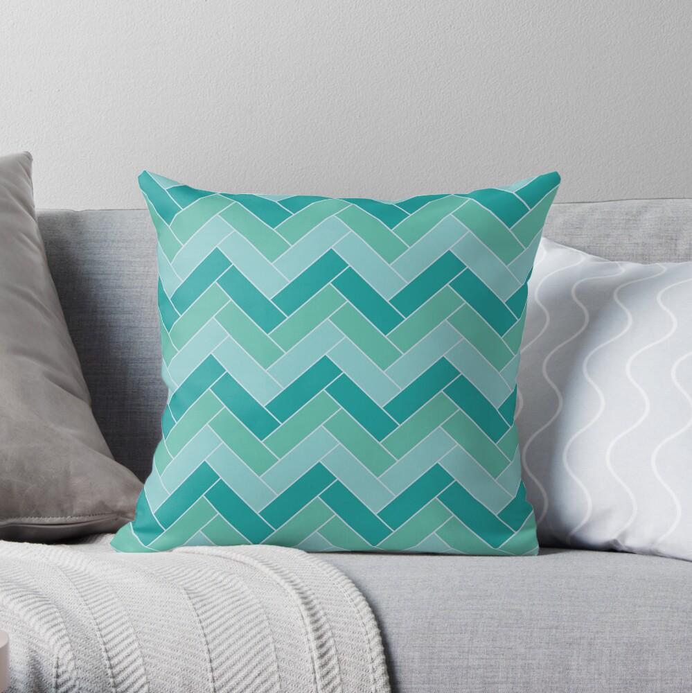 Geometric Pattern: Herringbone: Moss Throw Pillow