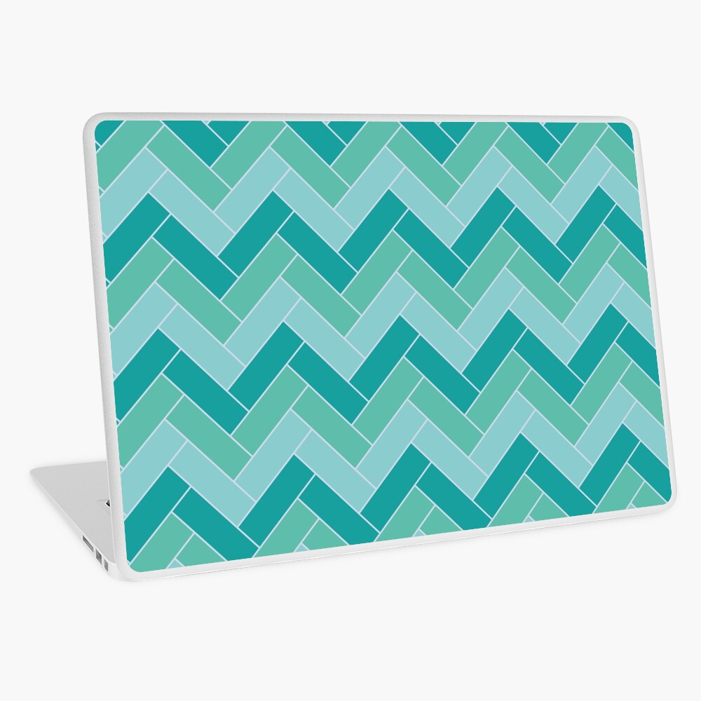 Geometric Pattern: Herringbone: Moss Laptop Skin