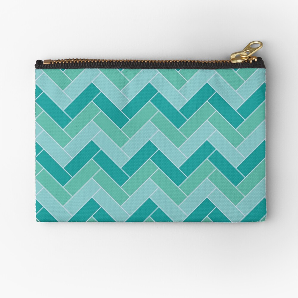 Geometric Pattern: Herringbone: Moss Zipper Pouch