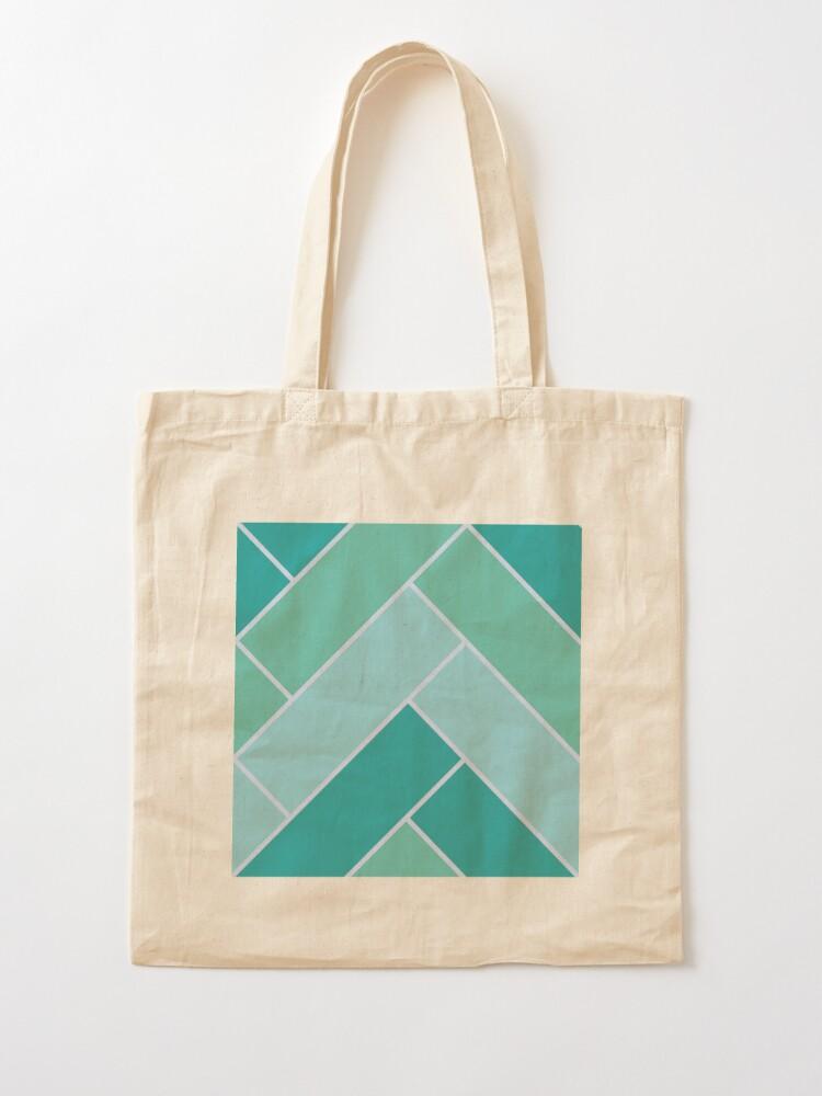 Alternate view of Geometric Pattern: Herringbone: Moss Tote Bag