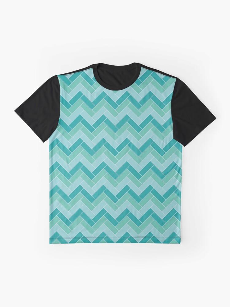Alternate view of Geometric Pattern: Herringbone: Moss Graphic T-Shirt