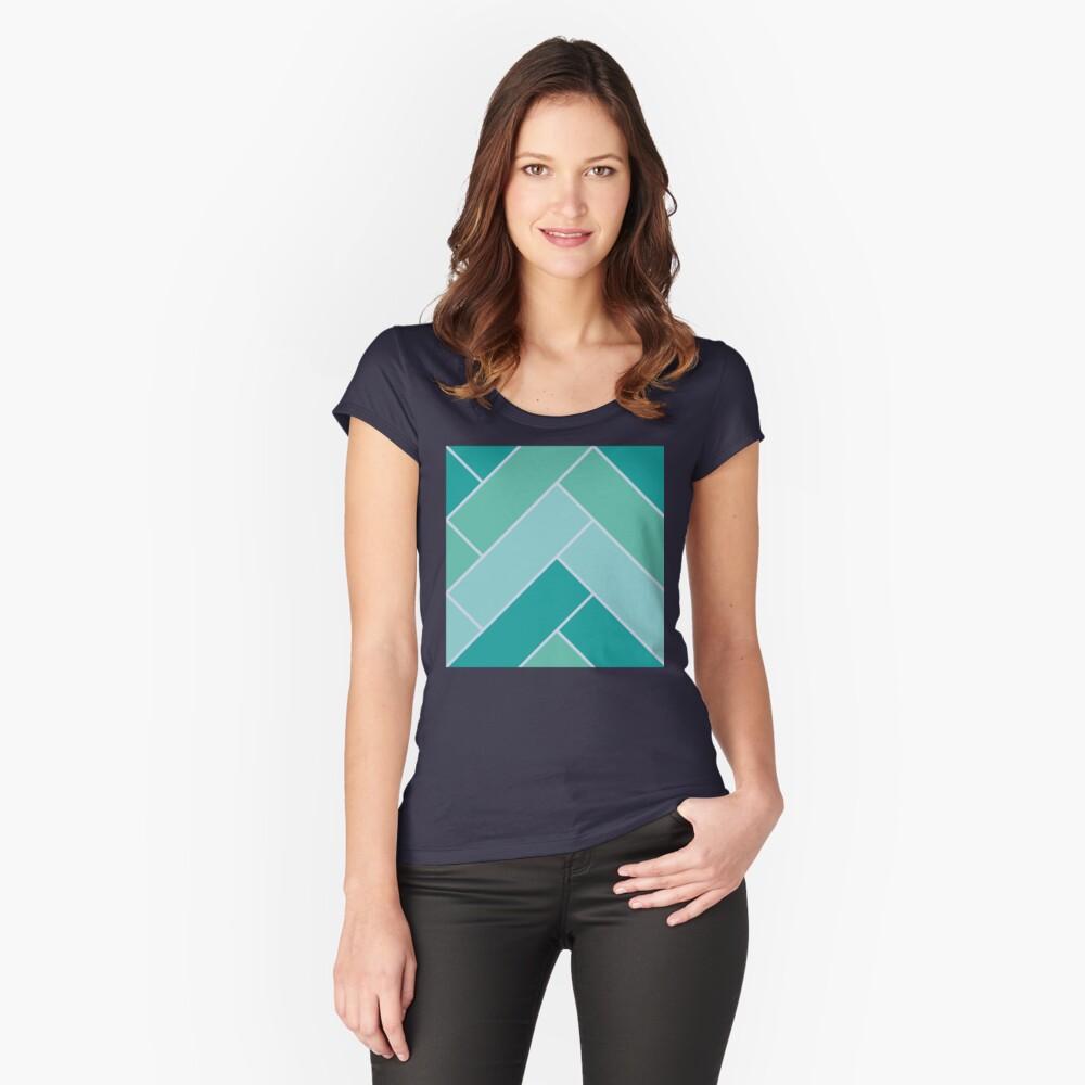 Geometric Pattern: Herringbone: Moss Fitted Scoop T-Shirt