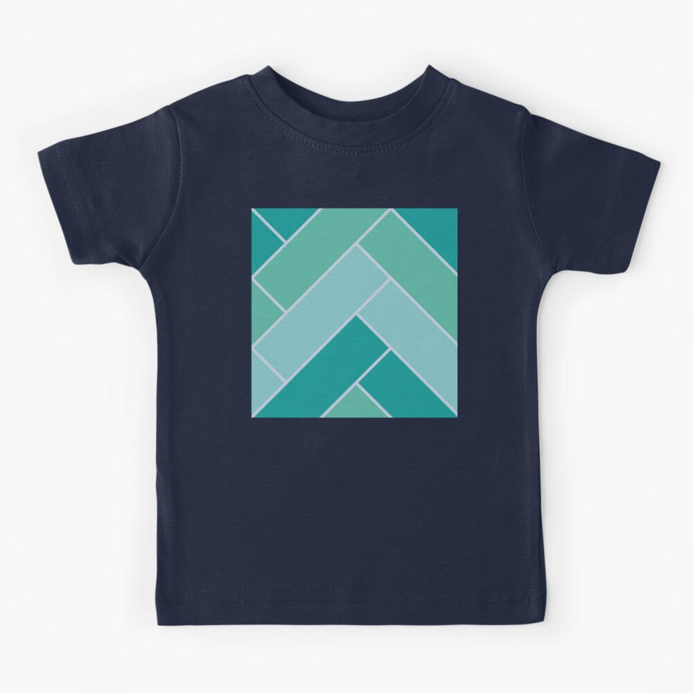 Geometric Pattern: Herringbone: Moss Kids T-Shirt