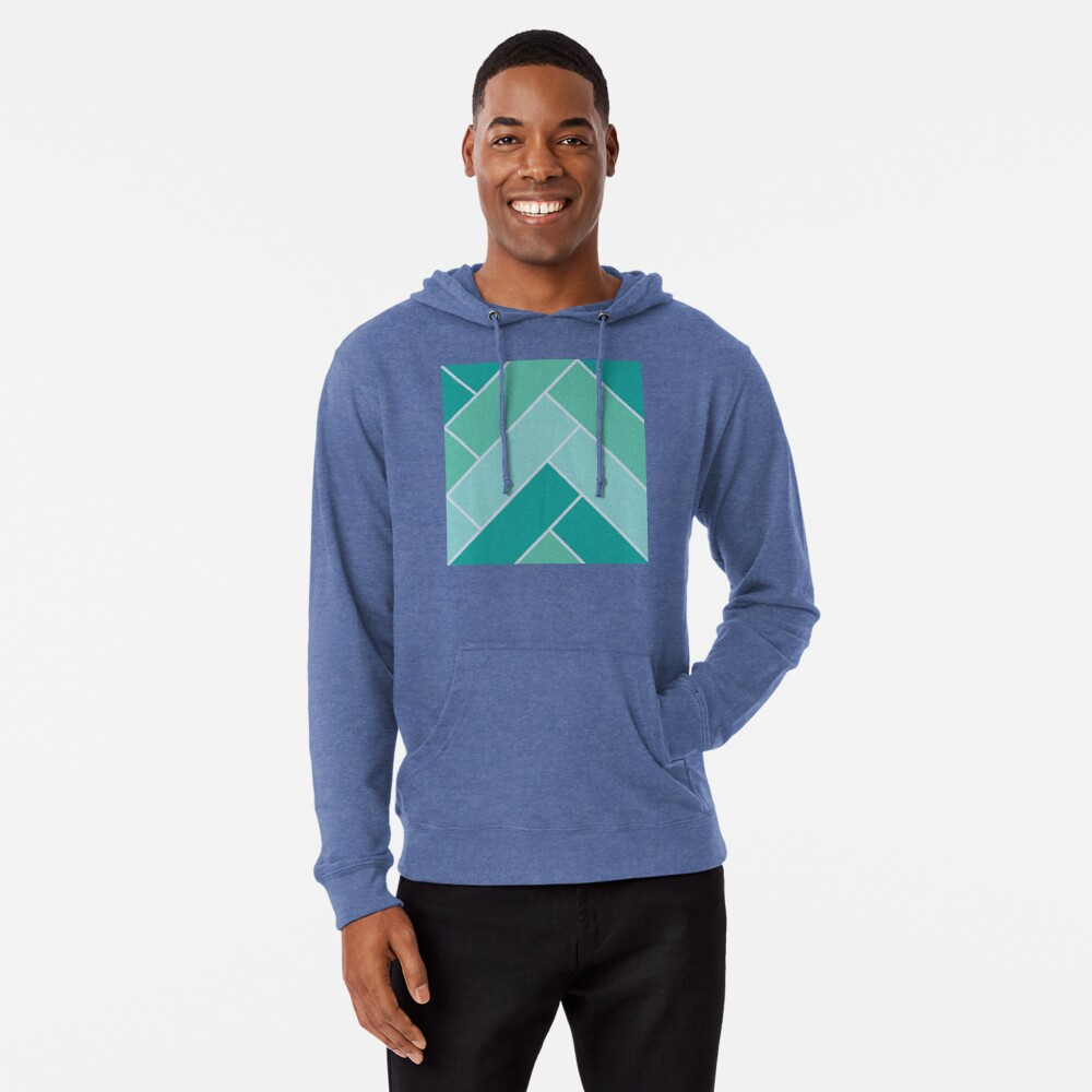 Geometric Pattern: Herringbone: Moss Lightweight Hoodie