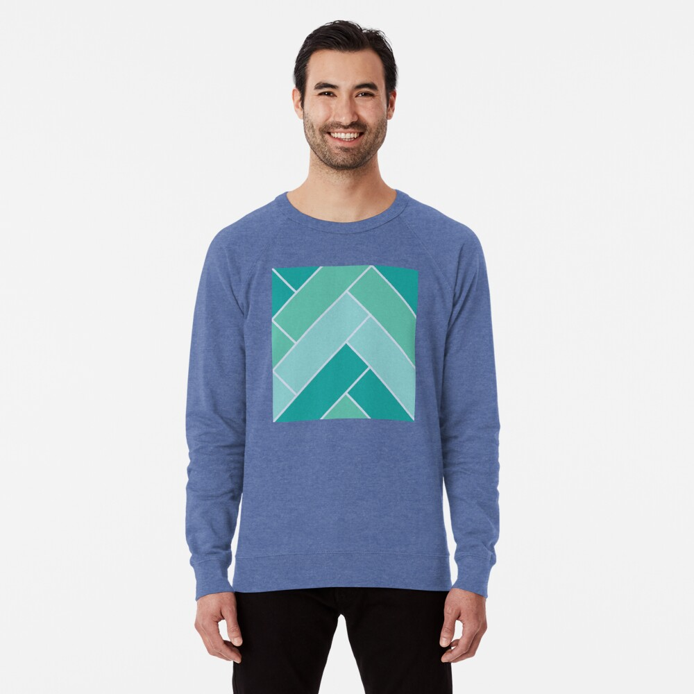 Geometric Pattern: Herringbone: Moss Lightweight Sweatshirt