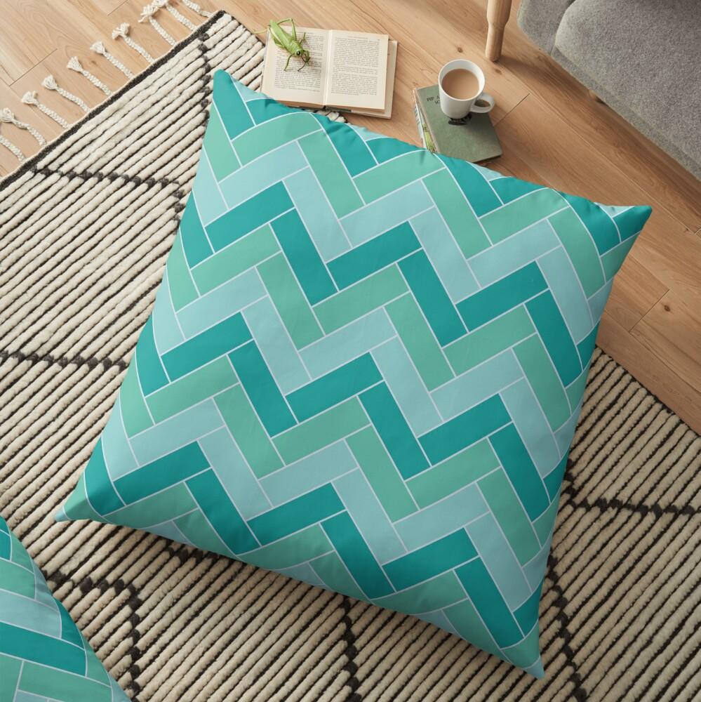 Geometric Pattern: Herringbone: Moss Floor Pillow