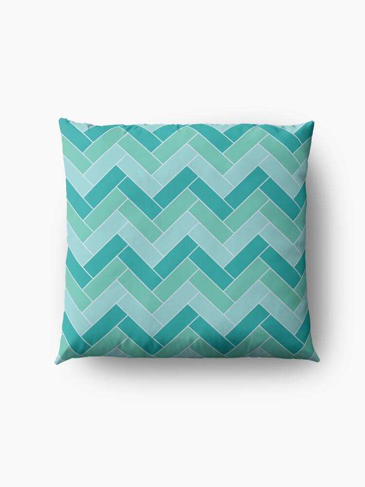 Alternate view of Geometric Pattern: Herringbone: Moss Floor Pillow
