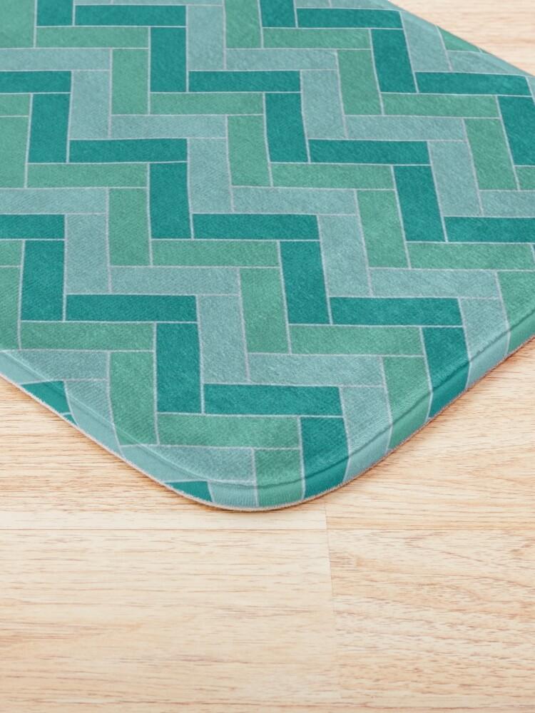 Alternate view of Geometric Pattern: Herringbone: Moss Bath Mat