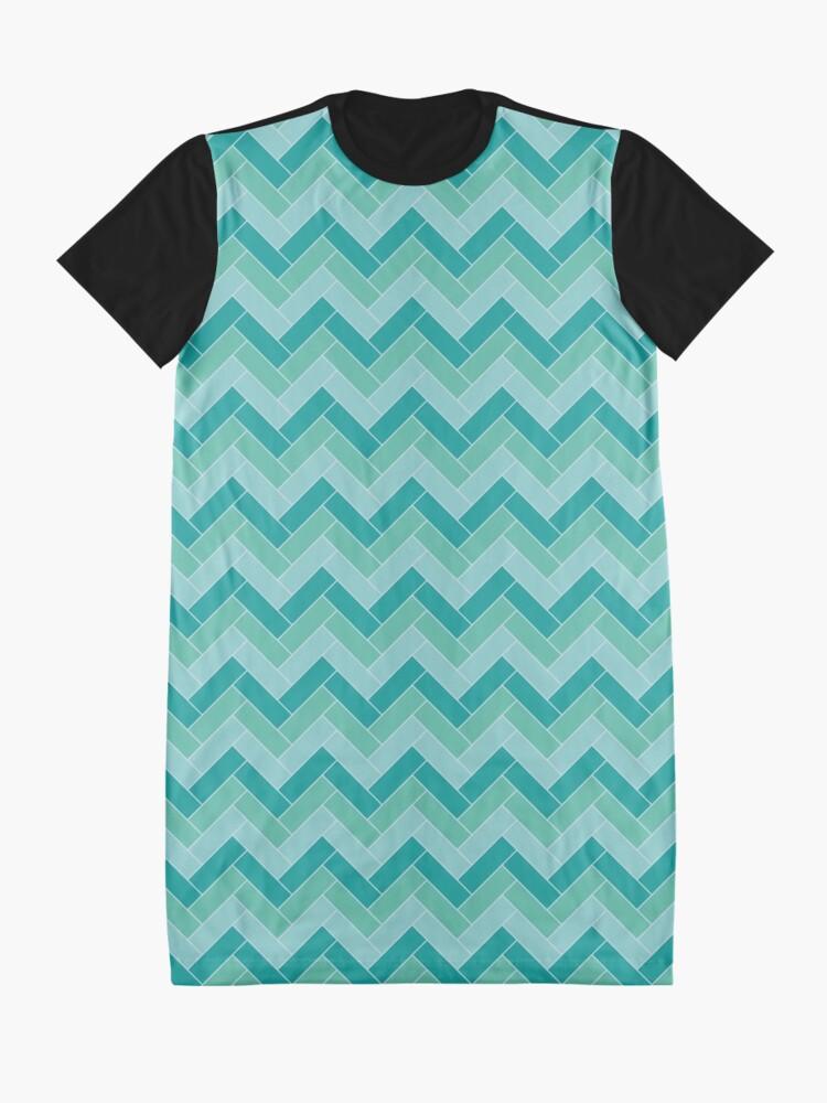 Alternate view of Geometric Pattern: Herringbone: Moss Graphic T-Shirt Dress