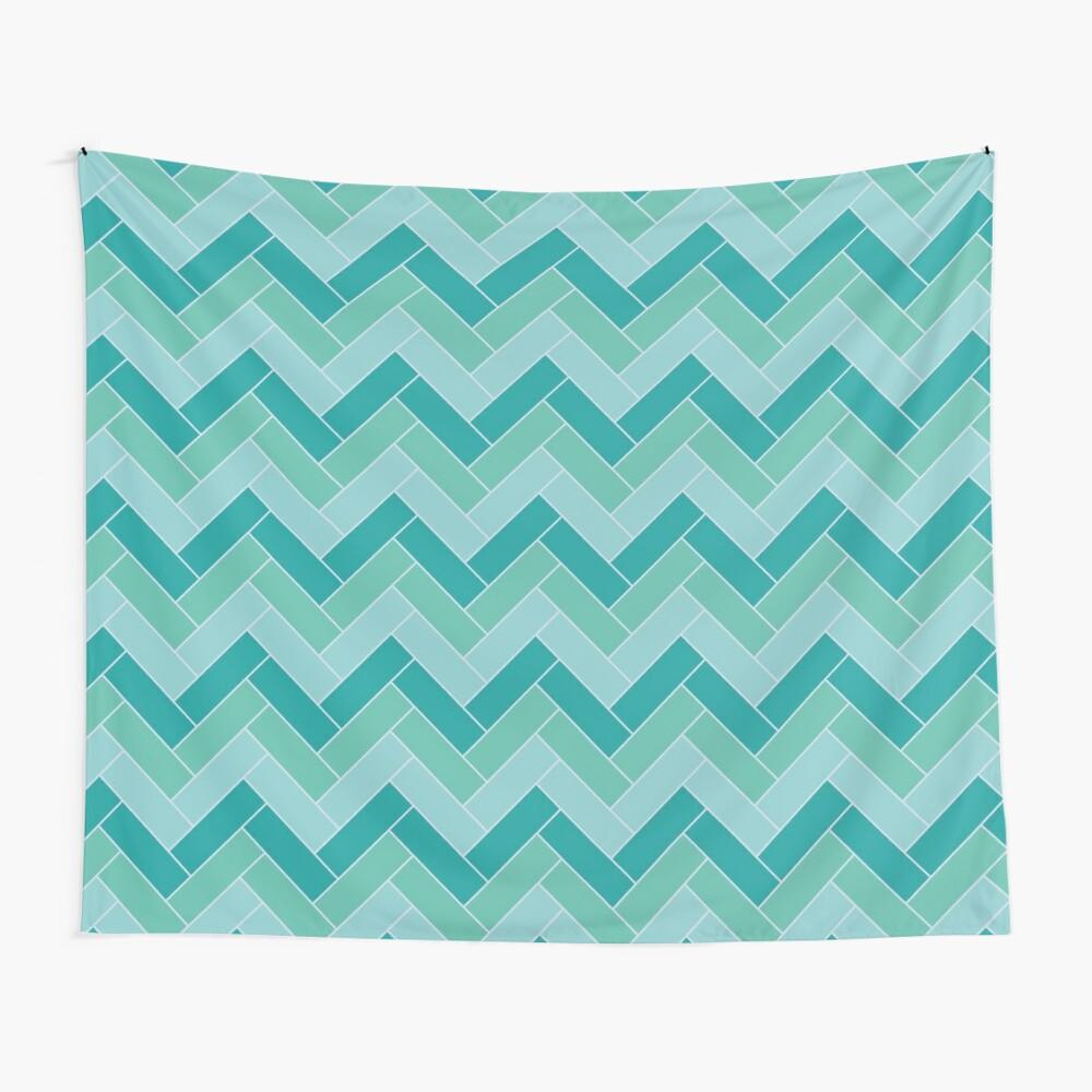 Geometric Pattern: Herringbone: Moss Wall Tapestry