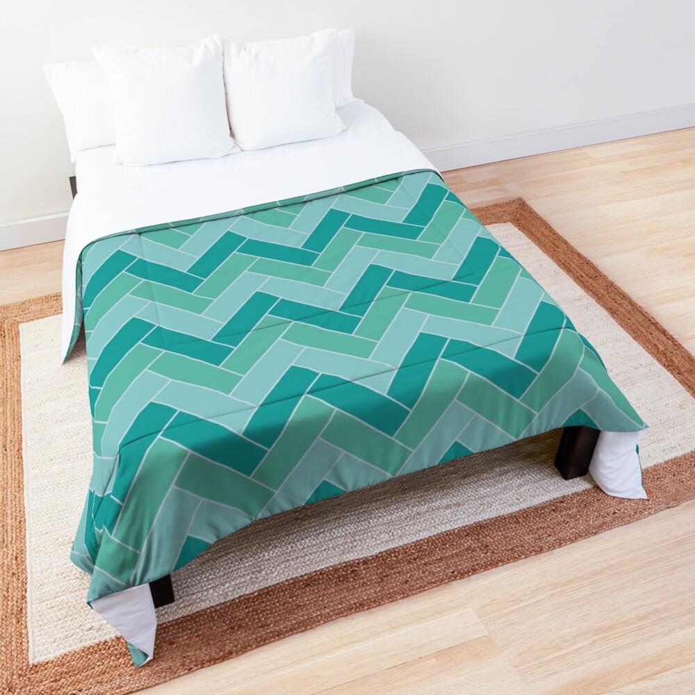 Geometric Pattern: Herringbone: Moss Comforter
