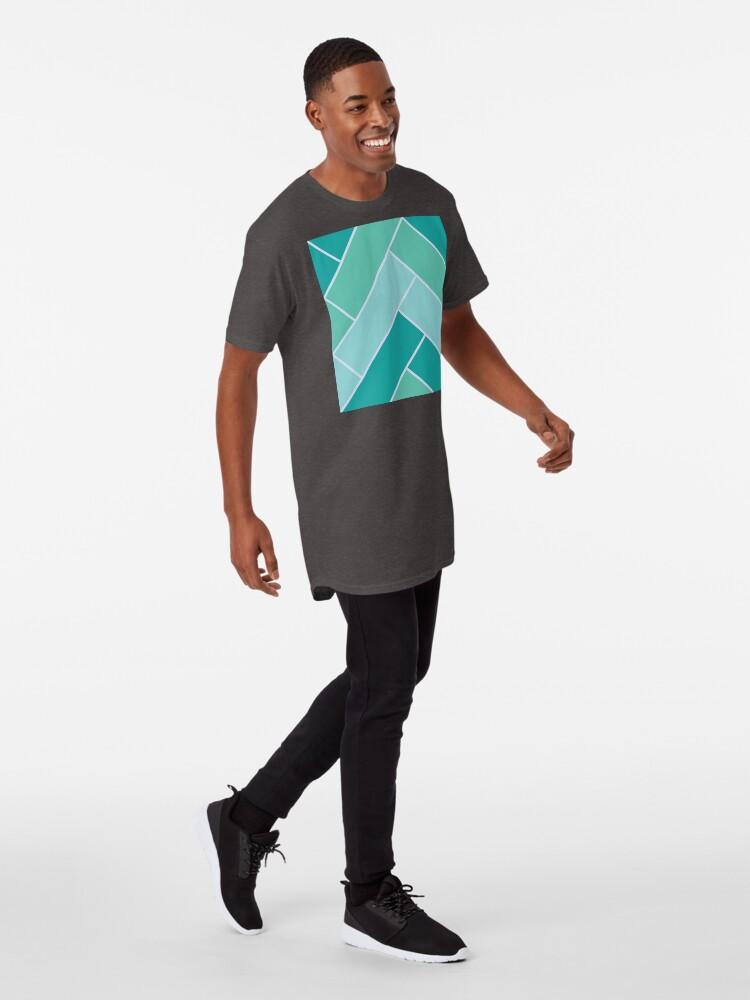 Alternate view of Geometric Pattern: Herringbone: Moss Long T-Shirt
