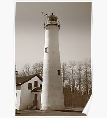 Lighthouse - Sturgeon Point, Michigan in Sepia Poster