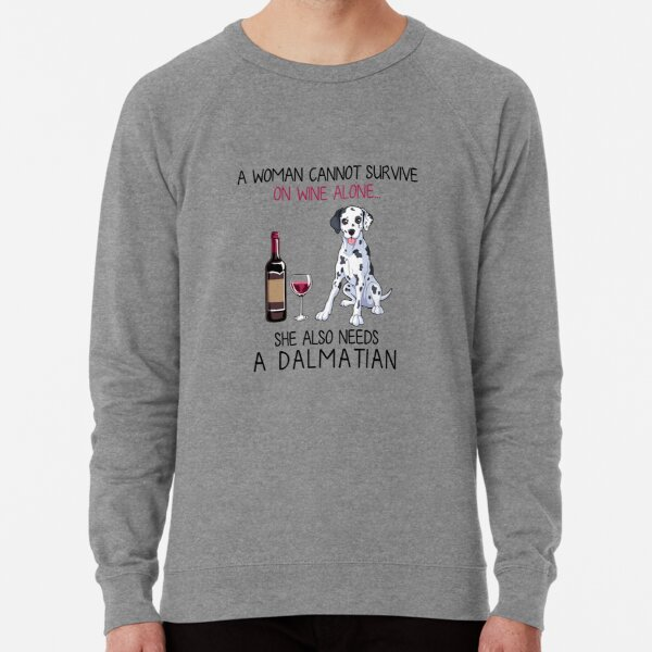 Dalmatian and wine Funny dog Lightweight Sweatshirt