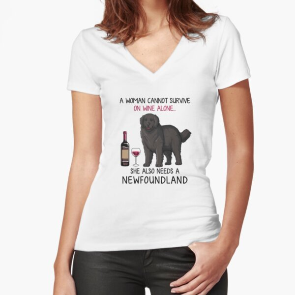 Newfoundland and wine Funny dog Fitted V-Neck T-Shirt