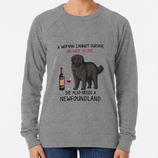 Newfoundland and wine Funny dog Lightweight Sweatshirt