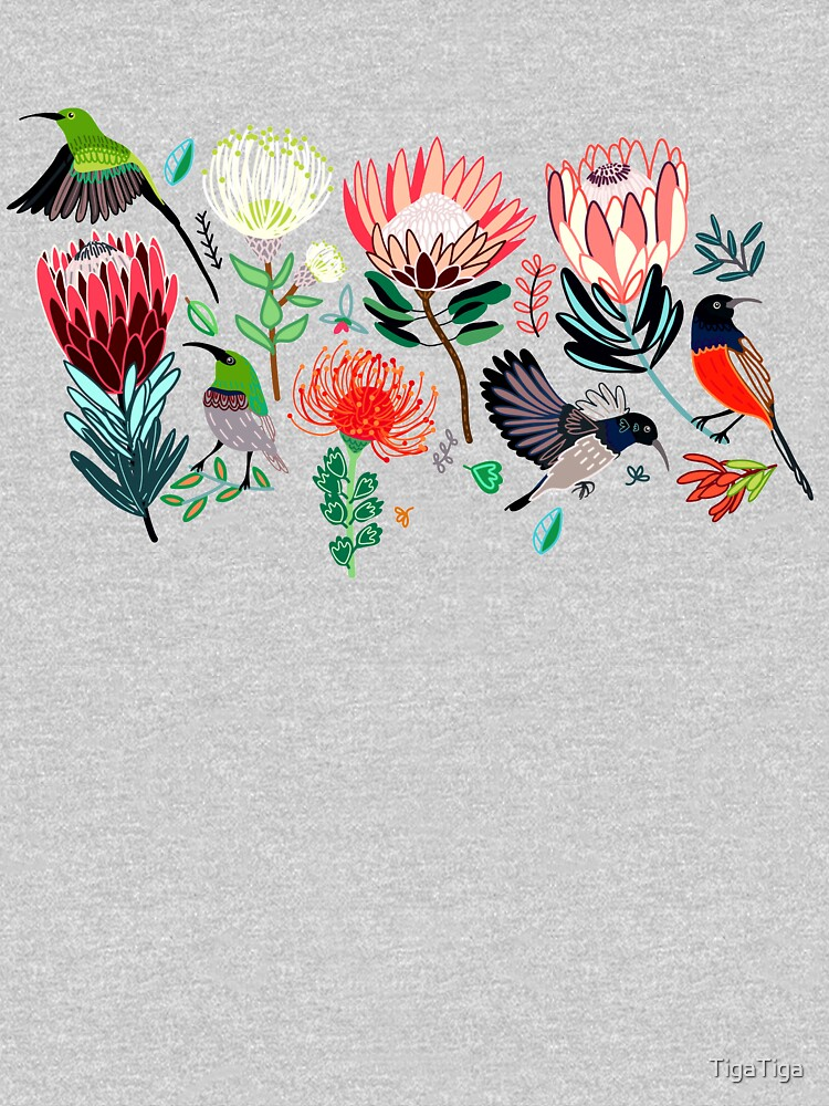 Sunbirds & Proteas On Grey by TigaTiga