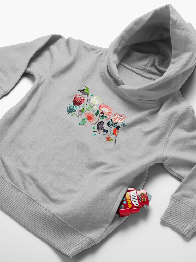 Alternate view of Sunbirds & Proteas On Grey Toddler Pullover Hoodie