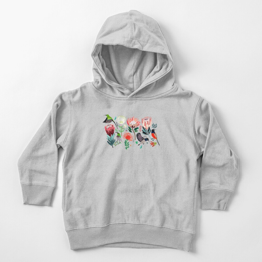 Sunbirds & Proteas On Grey Toddler Pullover Hoodie