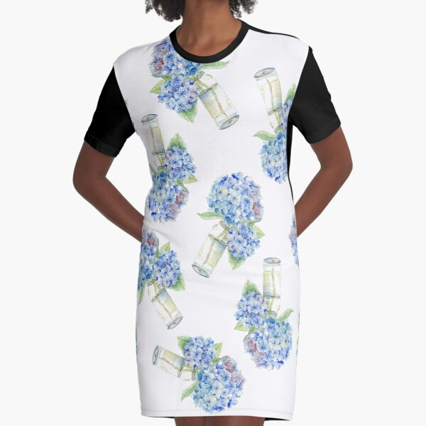 Blue Hydrangea, Still Life Graphic T-Shirt Dress