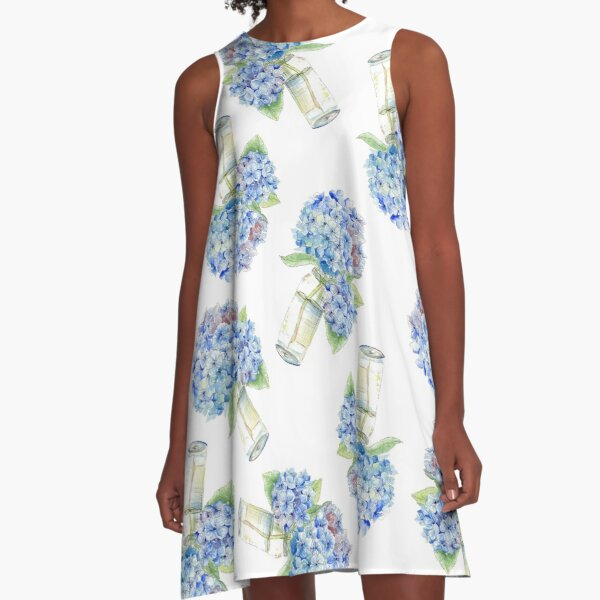 Blue Hydrangea, Still Life A-Line Dress