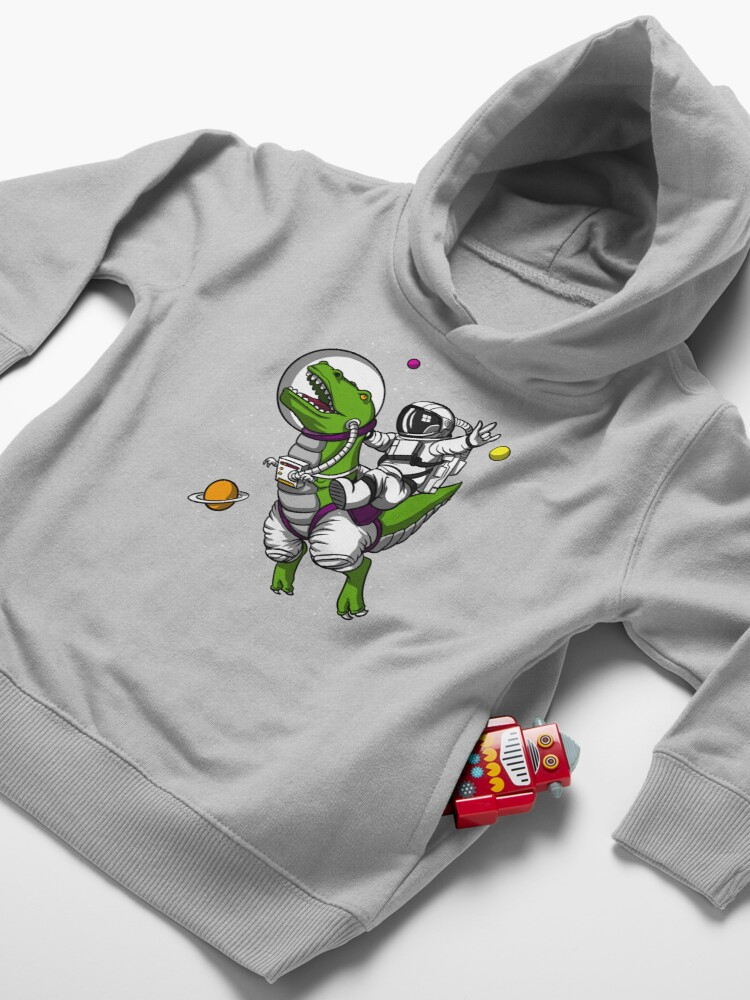 Alternate view of Space Astronaut Riding T-Rex Dinosaur Toddler Pullover Hoodie