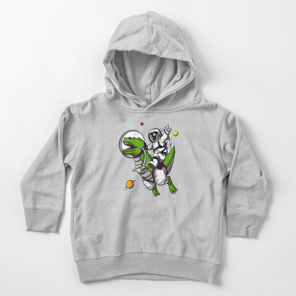 Space Astronaut Riding T-Rex Dinosaur Toddler Pullover Hoodie